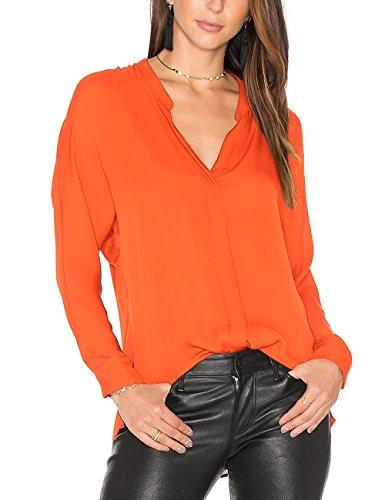 Dohia Women's Casual V Neck Chiffon Blouses Long Sleeve Loose Tops Shirt