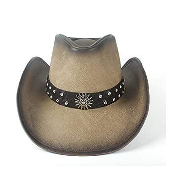 LiWen Zheng Women Men Western Cowboy Hat With Punk Leather Ribbon Lady Dad Sombrero Cap (Color : Tan, Size : 58-59)