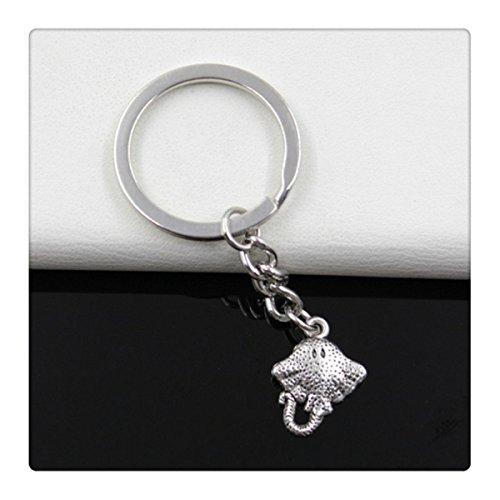 Fashion diameter 30mm Key Ring Metal Key Chain Keychain Jewelry Antique Silver Plated stingray fish 2113mm Pendant