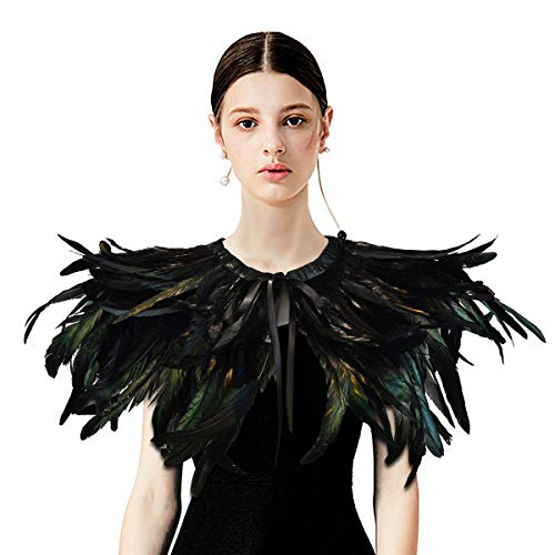 HOMELEX Gothic Black Natural Feather Cape Shawl with Choker Collar (Style-1) -