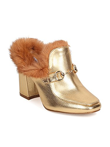 CAPE ROBBIN Women Polished Leatherette Fur Trim Mule - Dressy, Party, Costume - Block Heel Sandal - GD10 by Gold (Size: 6.5) (Trim Block Heel)