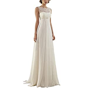 ABaowedding Women's Sleeveless Lace up Long Bridal Gown Wedding Dresses