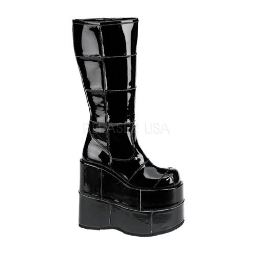 Demonia Unisex Stack-301 Platform Knee Boot Black Patent 10