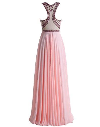 Beading Ivory Long Gown Dress Prom Neck Chiffon ALAGIRLS Round Evening zEwS44