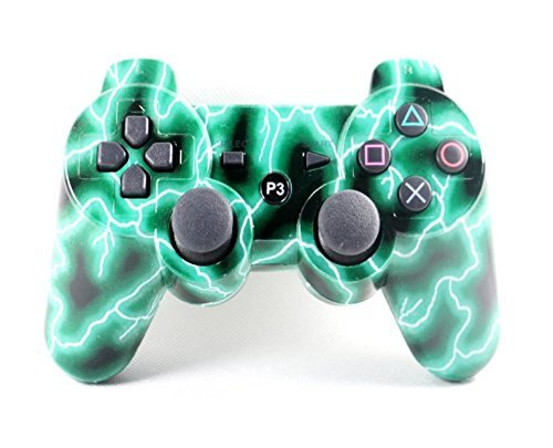 Wireless Bluetooth Double Vibration Remote PS3 Controller for Playstation 3. (Green lightning)- SongChao