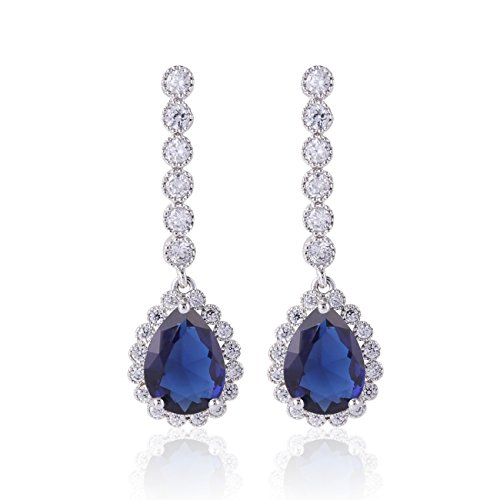 Blue Cubic Zirconia Crystal CZ Silver Plated Base Sapphire Color Drop Dangle Earring ()