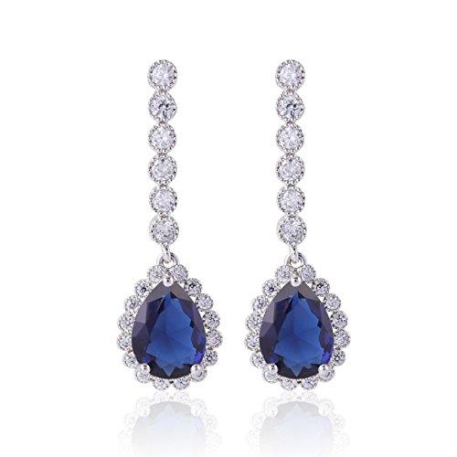 GULICX Wedding Tear Blue Cubic Zirconia Crystal CZ Silver Plated Base Sapphire Color Drop Dangle Earring Blue Crystal Dangling Earrings