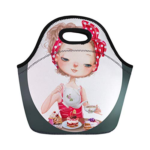 Semtomn Lunch Bags Bakery Red Watercolor Cute Cartoon Girl Teapot and Cup Neoprene Lunch Bag Lunchbox Tote Bag Portable Picnic Bag Cooler Bag