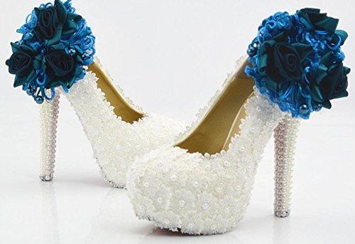 YCMDM scarpe da sposa scarpe da sposa tacco alto pizzo bianco Treasure Blu Fiore impermeabile SCARPE DONNA grandi cantieri 43 iarde 44 yarde 45 Yards , 11 cm with high reservation , 42