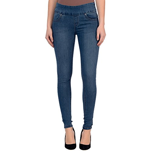 Lola Jeans Women's Anna Mid Rise Pull on 4-Way Stretch Skinny Jeans (Medium Blue, - Rise Mid Jeans Rise Low