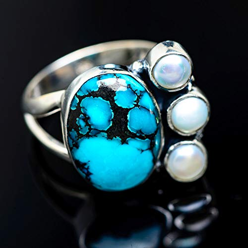 Tibetan Turquoise, Cultured Pearl Ring Size 9 (925 Sterling Silver) - Handmade Boho Vintage Jewelry RING949200 ()