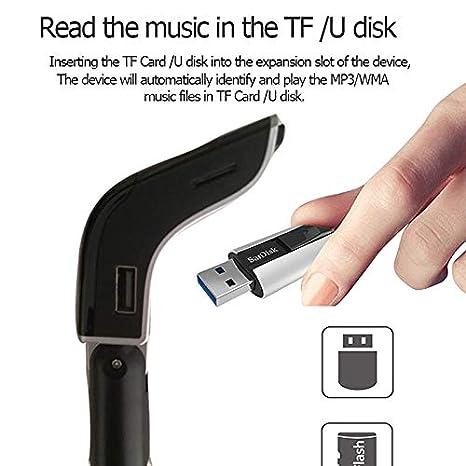 ranura para tarjeta USB TF llamadas manos libres adaptador inal/ámbrico de radio para autom/óvil Mini transmisor FM Bluetooth para autom/óvil 2 cargadores USB 3.1A
