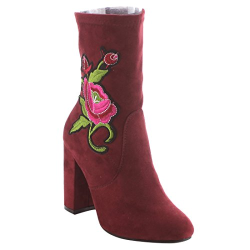 BETANI EI28 Womens Embroidered Side Zipper Wrapped Chunky Heel Ankle Bootie Wine cTsOK