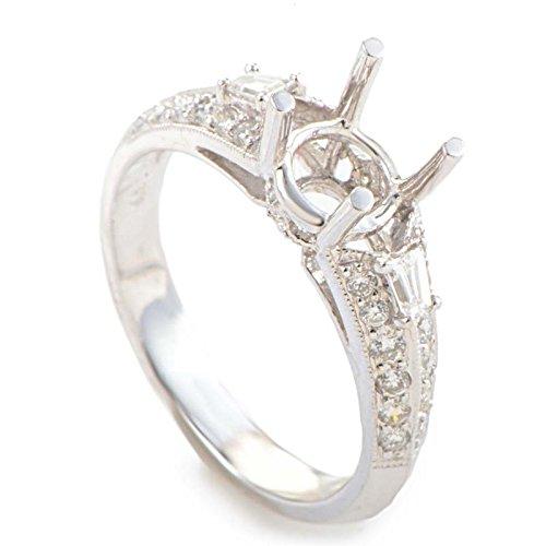 (Natalie K 18K White Gold & Diamond Engagement Ring Semi-Mount)