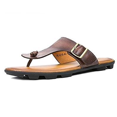 14e63e11ae12 Men s Shoes Cowhide Flip Flops Mens Genuine Leather Sandals Light Beach  Slipper Men Summer Shoes Brown