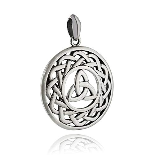 Round Celtic Knot Pendant - 925 Sterling Silver - Irish Trinity Large - Jewelry Accessories Key Chain Bracelets Crafting Bracelet Necklace Pendants