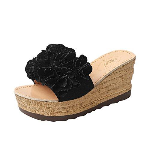 Slippers Été Pantoufles Femme Sunenjoy Haute Noir Chic Plage Compensées Imperméable Talons Chaussons Platform Fleurs Sandales qvOr1xq