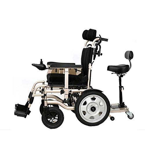 J.GH Foldable Power Compact Mobility Aid Wheel Chair,Lightweight Electric Wheelchair Portable Medical Scooter, Supports 265 Lb,with Pedals and Seats (Tipper Anti E&j)