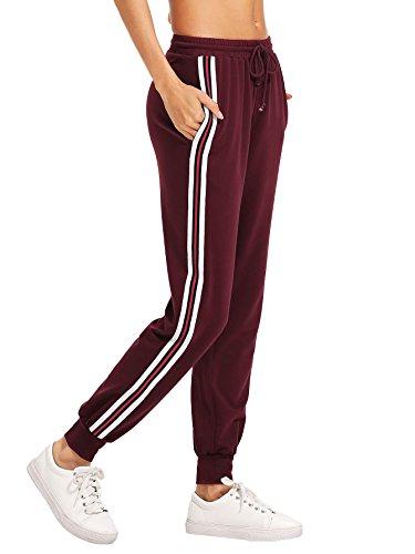 SweatyRocks Women's Drawstring Waist Striped Side Jogger Sweatpants with Pocket (X-Large, Burgundy)
