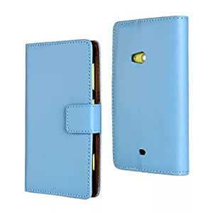 CASEPRADISE Slim Wallet Card Pouch Flip Leather Etui Stand Case Cover For Nokia Lumia 625 Blue