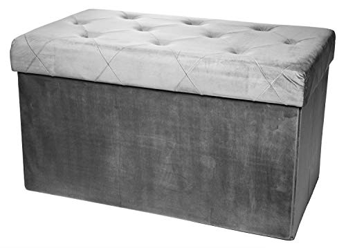 Red Co. Rectangular Luxury Storage Ottoman with Padded Seat, Upholstered Collapsible Folding Bench & Foot Rest, Velvet Charcoal, 16×30 Inches