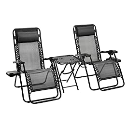 AmazonBasics Zero Gravity Chair with Side Table, Set of 2, Black