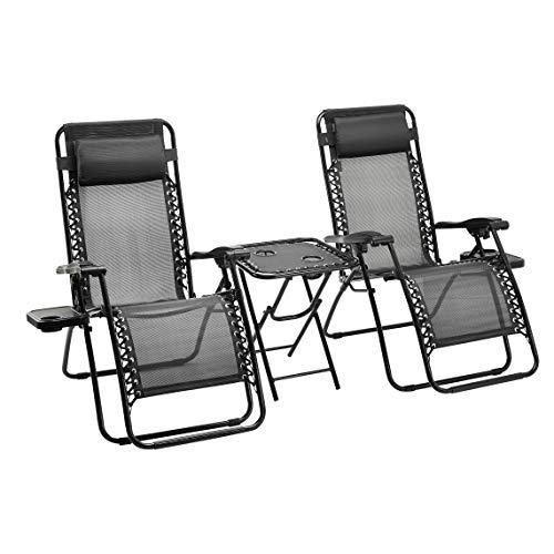 🥇 AmazonBasics – Set de 2 sillas con gravedad cero y mesa auxiliar