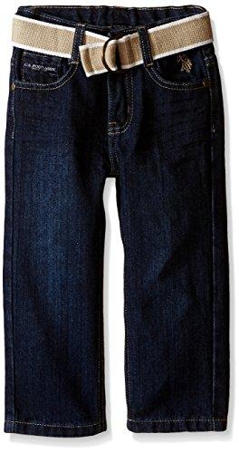 U.S. Polo Assn. Big Boys Belted 5 Pocket Straight Leg Jeans, Blue Wash, (Belted Five Pocket Jeans)