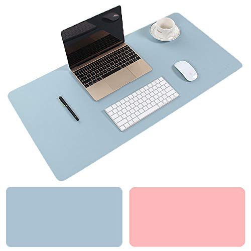 Aisakoc Large Desk Pad, 35.4 x 15.75 Non-Slip PU Leather Desk Mouse Pad Waterproof Desk Pad Protector, Dual-Side Use Desk Writing Mat for Office Home (Blue&Pink)