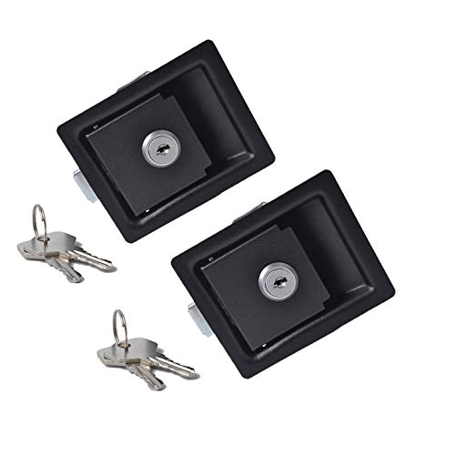2X Large Paddle Handle Lock Latch Black Powdercoated Caravan Ute Truck Toolbox ()