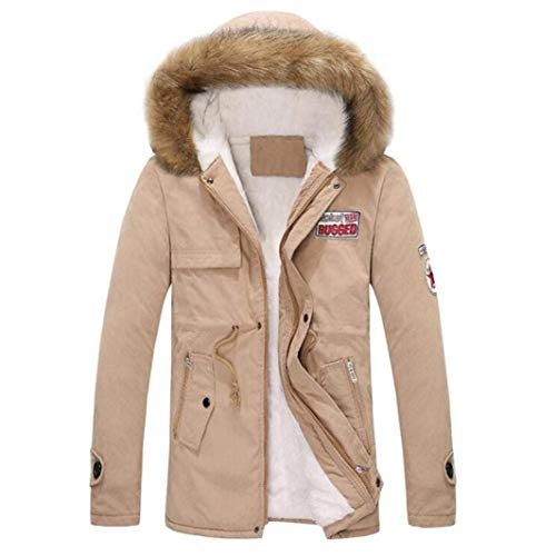 Down Winter Jacket Quilted Men Outdoor Jacket Beige Fur Jacket Jacket Collar Winter Winter Cotton Apparel Parka with Jacket Coat Coat qFwx6CxRY