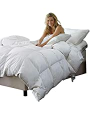 C&W White Goose Down Comforter King Size Duvet Insert,Down Duvet King Size,Shell 100% Cotton,600+ Fill Power,60oz Fill Weight,Breathable,Fluffy with Corner Tabs,White Color