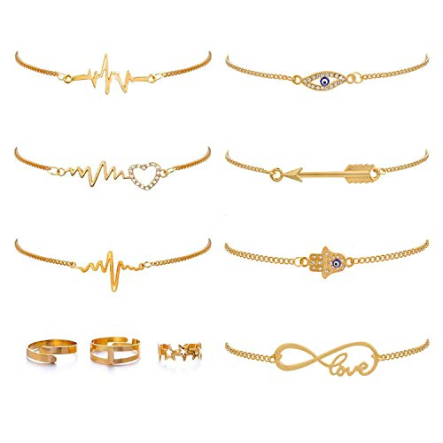 10 PCS Anklet and Toe Ring Set for Women Girls Beach Ankle Bracelets Adjustable Open Toe Ring Foot Jewelry