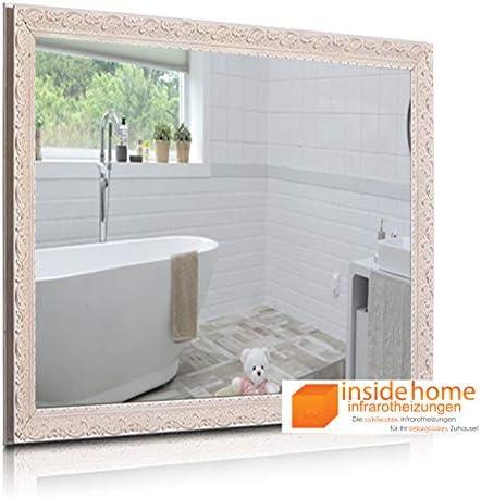 Insidehome Infrarotheizung Spiegel Vintage Stilholz Rahmen In Weiss Hochwertige Spiegelheizung Deutscher Hersteller 400 Watt 70 X 60 X 3 Cm Baumarkt