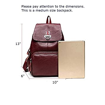 Khaliro Fashionable Waterproof Leather Backpack for Women 4-Candy Red