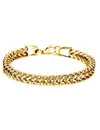 Double Side Stainless Steel Franco Chain Bracelet for Men Women 6mm Square Curb Chain Link Wristband Bangle