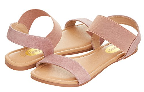 Floopi Womens Summer Flat Sandals Open Toe Wide Elastic Strap Sandal (9,...
