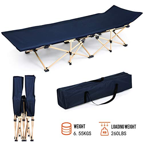 Folding Camping Bed Cot with Carry Bag Portable Easy Set Up Sleeping Cot with Weight Capacity 260lbs for Outdoor Home Office US Stock