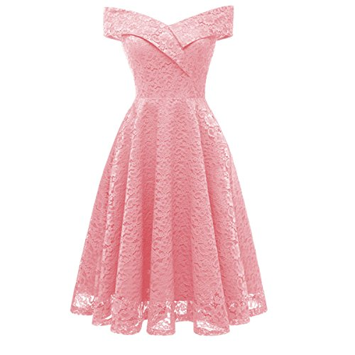 Swing Shoulder Aibwet Off Pink 1 Lace Cocktail Boat Dresses Floral Vintage Dress Women's Formal Neck wFF1gqPA