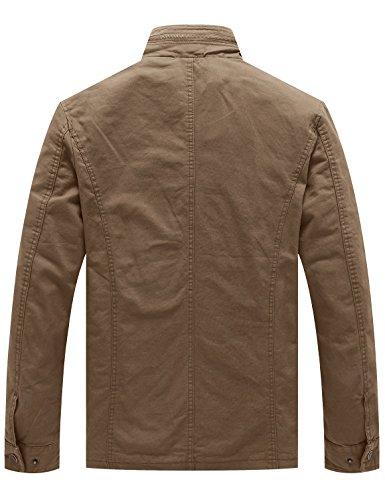 WenVen Men's Stand Collar Cotton Field Jacket (Khaki, L)