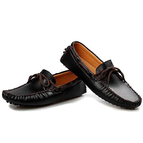 Gå Tur Mens Äkta Läder Klassiska Mockasin Black-b