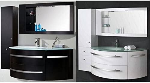 Bagno Italia Meuble Salle de Bain 120 + 30 cm Blanc ou Noir ...