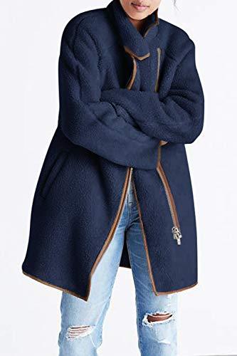 Marino Casual Zip Tops Azul Outwear Larga Abrigo Yacun Chaquetas De Chaqueta Mujer Manga Z61WWf7cH