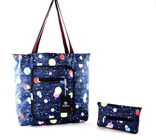 (Foldable Tote Bag for Women-Top Zipper Closure Premium Quality Lightweight Cute (Blue))