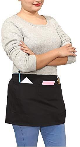 Ruvanti 6 Pack Waitress Aprons Waist Apron with 3 Pockets - Commercial Grade Half Apron/Server Aprons Durable,Comfortable Perfect as Restaurant Apron, Money Apron,Waiter Apron, Bartender Apron.