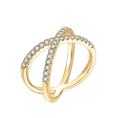 PAVOI 14K Gold Plated Crossover X Stackable Rings | Yellow Gold Rings for Women - Size 7 ()