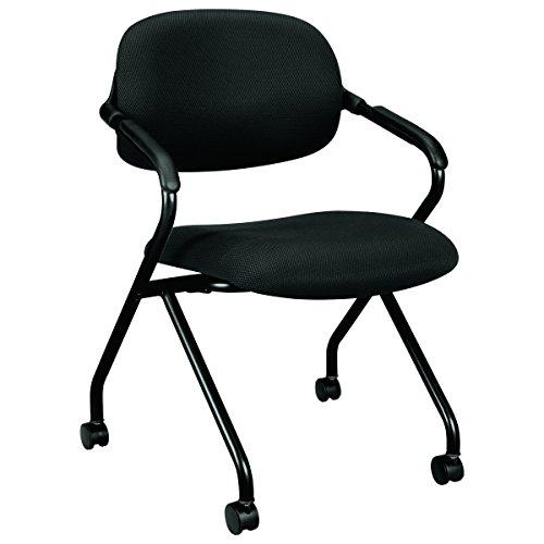 basyx Vl303 Mesh Back Nesting Arm Chair, Black/Black by basyx by HON
