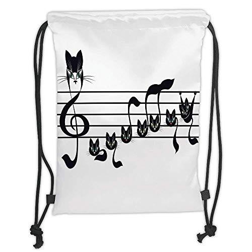 Custom Printed Drawstring Backpacks Bags,Music Decor,Notes Kittens Kitty Cat Artwork Notation Tune Children Halloween Stylized, Soft Satin,5 Liter Capacity,Adjustable String Closure,The Stylish B