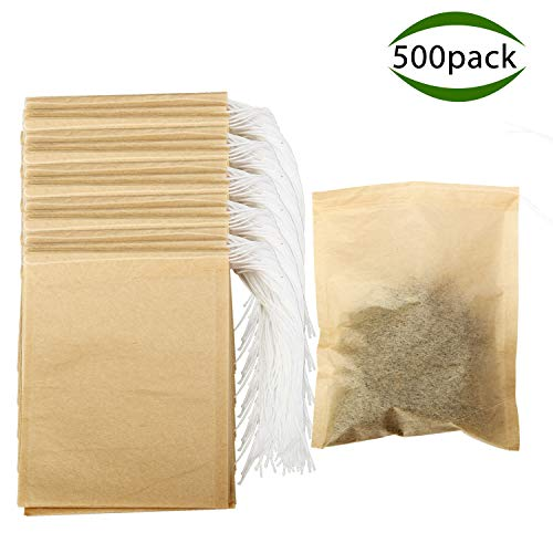 Tea Bags, POZEAN Tea Bags for Loose Tea 500 pack Disposable with Drawstring Safe Unbleached Natural Wood Pulp Filter Paper, for Tea Filter Bags, Scented Tea, Herbal Medicine Package,Soup Package,etc