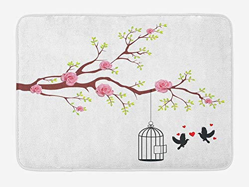 Birds Bath Mat, Blossomed Roses and Flying Love Valentine's Birds with Hearts and Cage Romance, Plush Bathroom Decor Mat with Non Slip Backing, 23.6 W X 15.7 W Inches, Pink Brown White